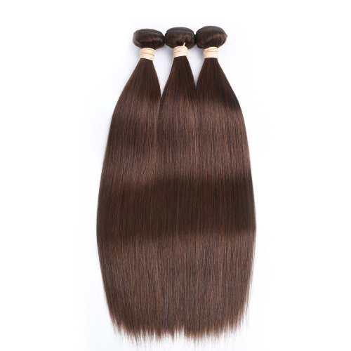 3 Bundles Dyed Straight Brazilian Hair Extensions #4 Chocolate Brown