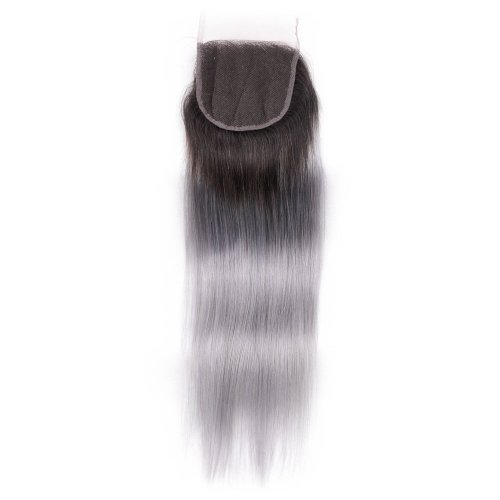 Ombre 1B/Grey 4x4 Lace Closure Straight Human Brazilian Remy Hair