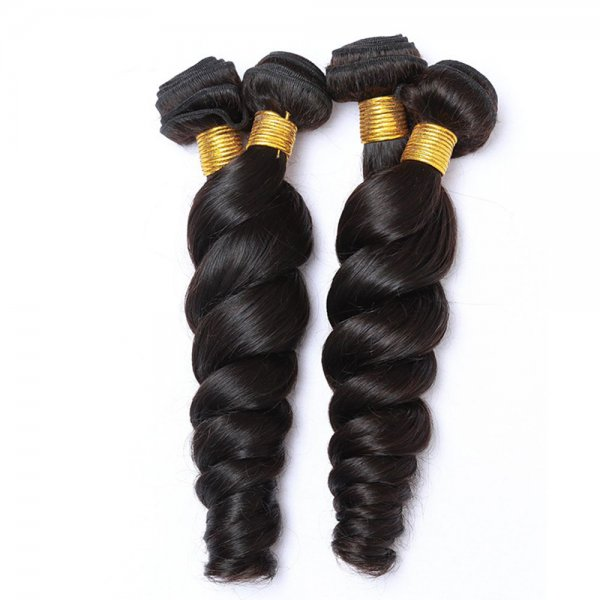 7A 4 Bundles Brazilian Loose Wave Virgin Human Remy Hair Weave With 4x4 Lace Closure