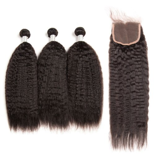 8A 3 Bundles Brazilian Kinky Straight Virgin Human Remy Hair Weave With 4x4 Lace Closure
