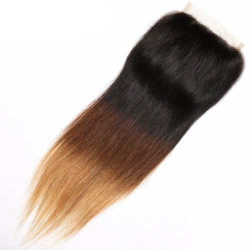Ombre 1B/4/27 4x4 Lace Closure Straight Human Brazilian Remy Hair