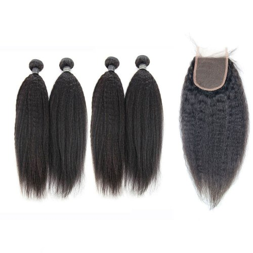 8A 4 Bundles Brazilian Kinky Straight Virgin Human Remy Hair Weave With 4x4 Lace Closure