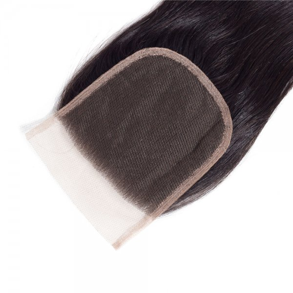 7A 4x4 Lace Closure Straight 100% Human Virgin Brazilian Remy Hair