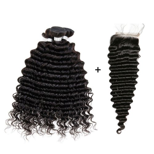 8A 3 Bundles Brazilian Deep Wave Virgin Human Remy Hair Weave With 4x4 Lace Closure