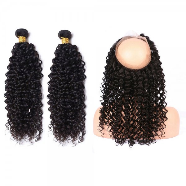 7A 2 Bundles Brazilian Deep Curly Virgin Human Remy Hair Weave With 360 Lace Frontal Closure