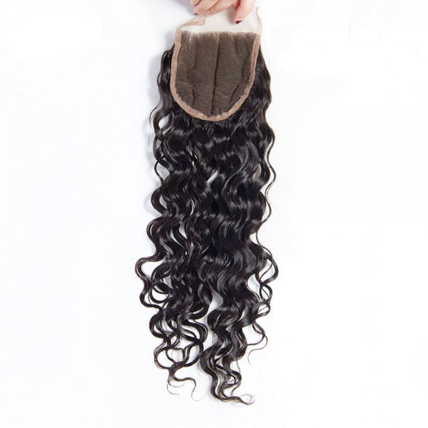 7A 3 Bundles Brazilian Natural Wave Virgin Human Remy Hair Weave With 4x4 Lace Closure