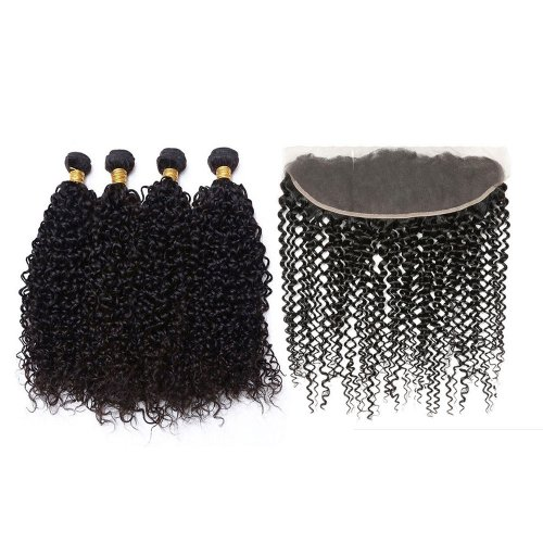 7A 4 Bundles Brazilian Kinky Curly Virgin Human Remy Hair Weave With 13x4 Lace Frontal Closure