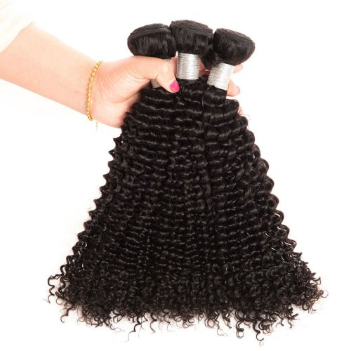 8A 3 Bundles Brazilian Kinky Curly Virgin Human Remy Hair Weave