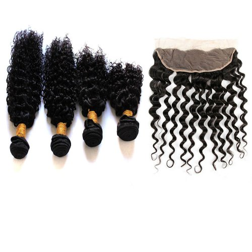 7A 4 Bundles Brazilian Deep Curly Virgin Human Remy Hair Weave With 13x4 Lace Frontal Closure