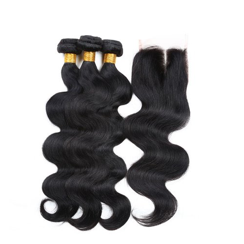 7A 3 Bundles Brazilian Body Wave Virgin Human Remy Hair Weave With 4x4 Lace Closure