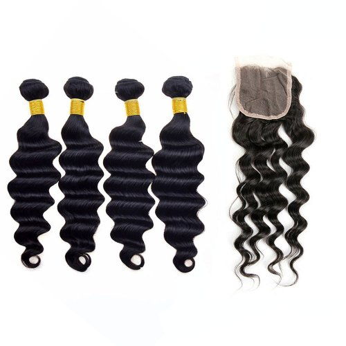 7A 4 Bundles Brazilian Loose Deep Virgin Human Remy Hair Weave With 4x4 Lace Closure