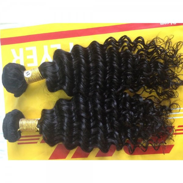 7A 2 Bundles Brazilian Deep Wave Virgin Human Remy Hair Weave
