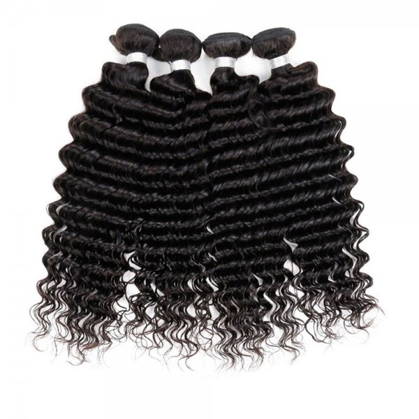 8A 4 Bundles Brazilian Deep Wave Virgin Human Remy Hair Weave