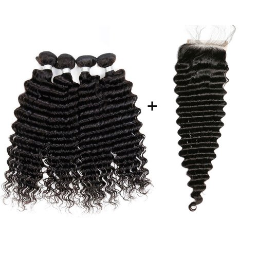 8A 4 Bundles Brazilian Deep Wave Virgin Human Remy Hair Weave With 4x4 Lace Closure