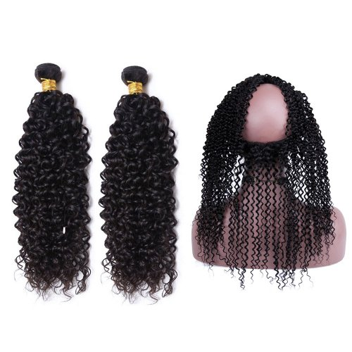 7A 2 Bundles Brazilian Kinky Curly Virgin Human Remy Hair Weave With 360 Lace Frontal Closure