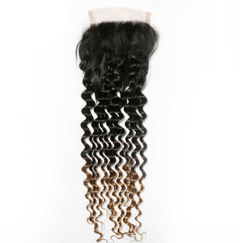 Ombre 1B/4/27 4x4 Lace Closure Deep Wave Human Brazilian Remy Hair
