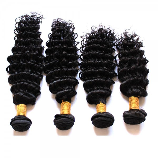 7A 4 Bundles Brazilian Deep Wave Virgin Human Remy Hair Weave