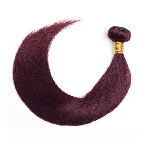 1 Bundle Dyed Brazilian Hair Extensions #99J Color Straight