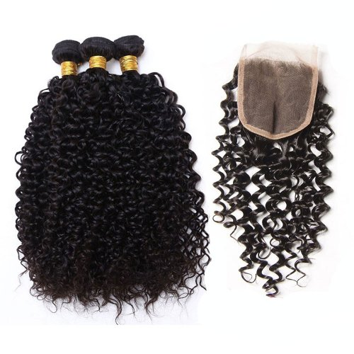 7A 3 Bundles Brazilian Kinky Curly Virgin Human Remy Hair Weave With 4x4 Lace Closure
