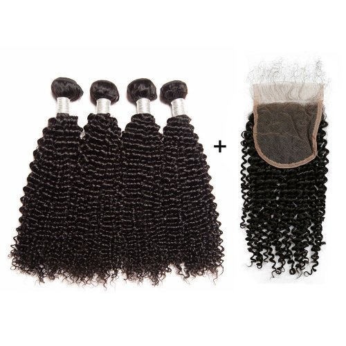 8A 4 Bundles Brazilian Kinky Curly Virgin Human Remy Hair Weave With 4x4 Lace Closure