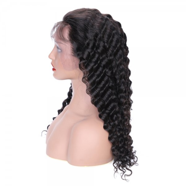 Glueless Lace Front Wigs Deep Wave Human Virgin Hair Swiss Lace wig Full Density With Baby Hair 8-20Inch Deals