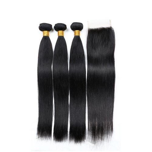 7A 3 Bundles Brazilian Straight Virgin Human Remy Hair Weave With 4x4 Lace Closure