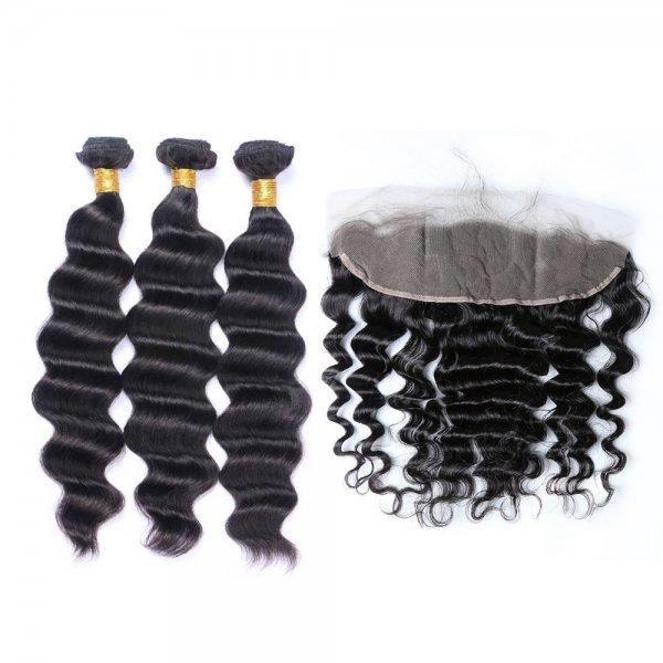 7A 3 Bundles Brazilian Loose Deep Virgin Human Remy Hair Weave With 13x4 Lace Frontal Closure