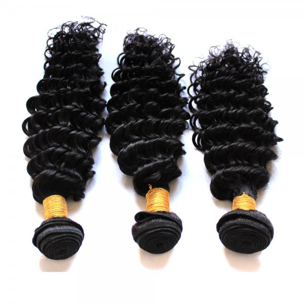 7A 3 Bundles Brazilian Deep Wave Virgin Human Remy Hair Weave