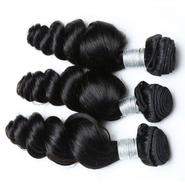 8A 2 Bundles Brazilian Loose Wave Virgin Human Remy Hair Weave With 360 Lace Frontal Closure