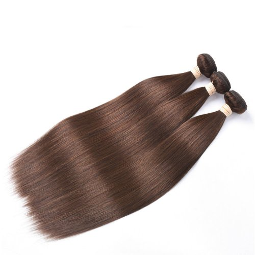 3 Bundles Dyed Straight Brazilian Hair Extensions #6 Light Brown