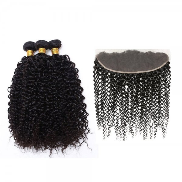 7A 3 Bundles Brazilian Kinky Curly Virgin Human Remy Hair Weave With 13x4 Lace Frontal Closure