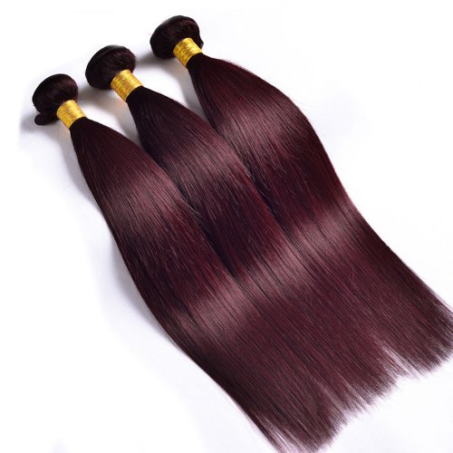 3 Bundles Dyed Brazilian Hair Extensions #99J Color Straight