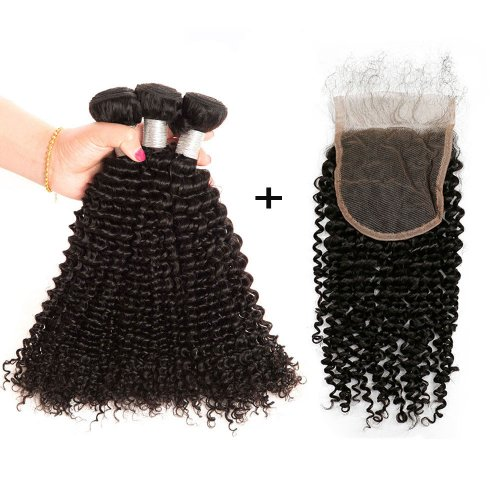 8A 3 Bundles Brazilian Kinky Curly Virgin Human Remy Hair Weave With 4x4 Lace Closure