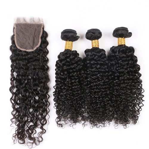 7A 3 Bundles Brazilian Deep Curly Virgin Human Remy Hair Weave With 4x4 Lace Closure