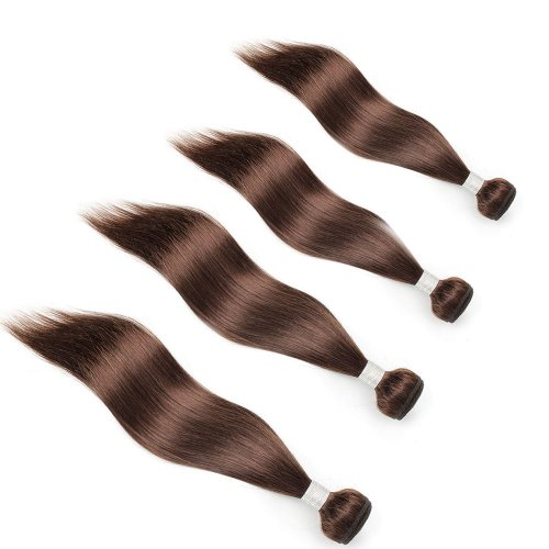 4 Bundles Dyed Straight Brazilian Hair Extensions #6 Light Brown