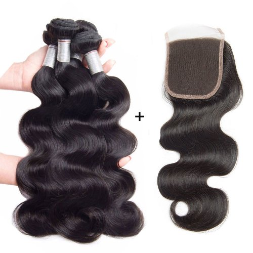 8A 4 Bundles Brazilian Body Wave Virgin Human Remy Hair Weave With 4x4 Lace Closure