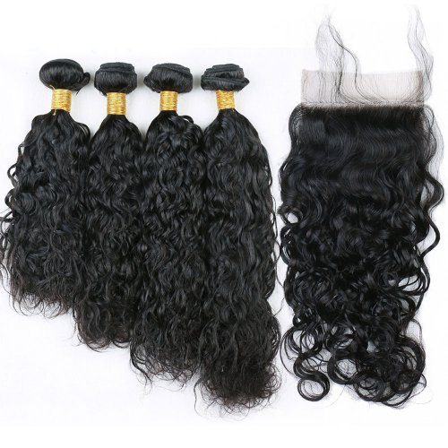 7A 4 Bundles Brazilian Natural Wave Virgin Human Remy Hair Weave With 4x4 Lace Closure