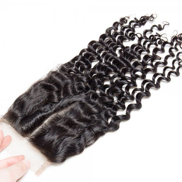 7A 4x4 Lace Closure Deep Curly 100% Human Virgin Brazilian Remy Hair
