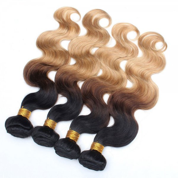 1 Bundle 1B/4/27 Ombre Brazilian Body Wave Human Remy Hair Weave