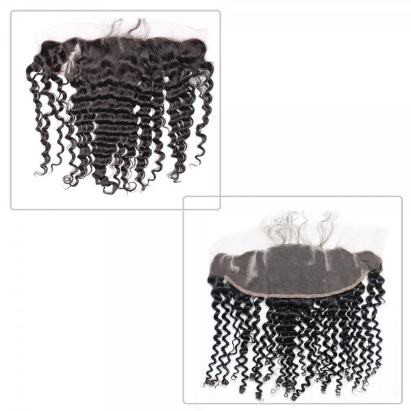 7A 4 Bundles Brazilian Deep Wave Virgin Human Remy Hair Weave With 13x4 Lace Frontal Closure