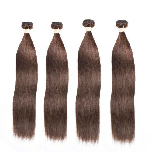 4 Bundles Dyed Straight Brazilian Hair Extensions #4 Chocolate Brown