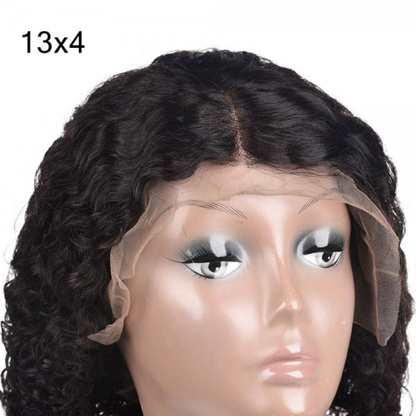 Short Human Hair Lace Front Bob Wigs Brazilian Deep Curly Fashion Style Remy Virgin Hair