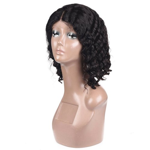 Short Human Hair Lace Front Bob Wigs Brazilian Deep Wave Remy Virgin Hair With Bangs