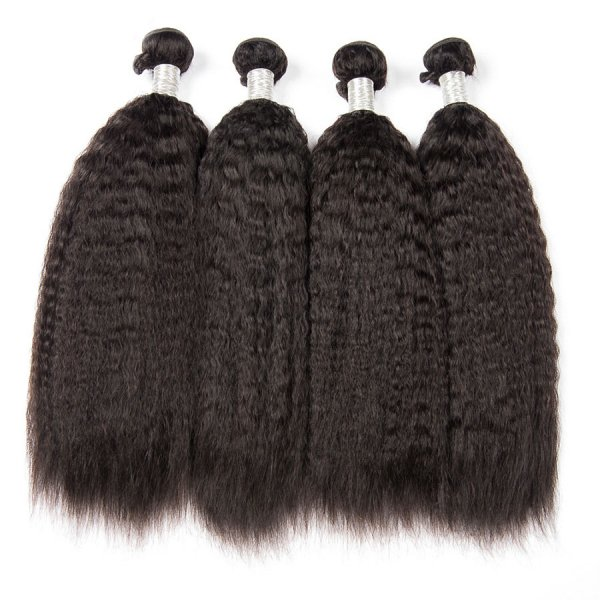 8A 4 Bundles Brazilian Kinky Straight Virgin Human Remy Hair Weave