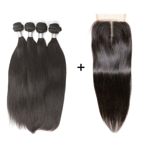 8A 4 Bundles Brazilian Straight Virgin Human Remy Hair Weave With 4x4 Lace Closure