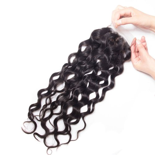 7A 4x4 Lace Closure Natural Wave 100% Human Virgin Brazilian Remy Hair