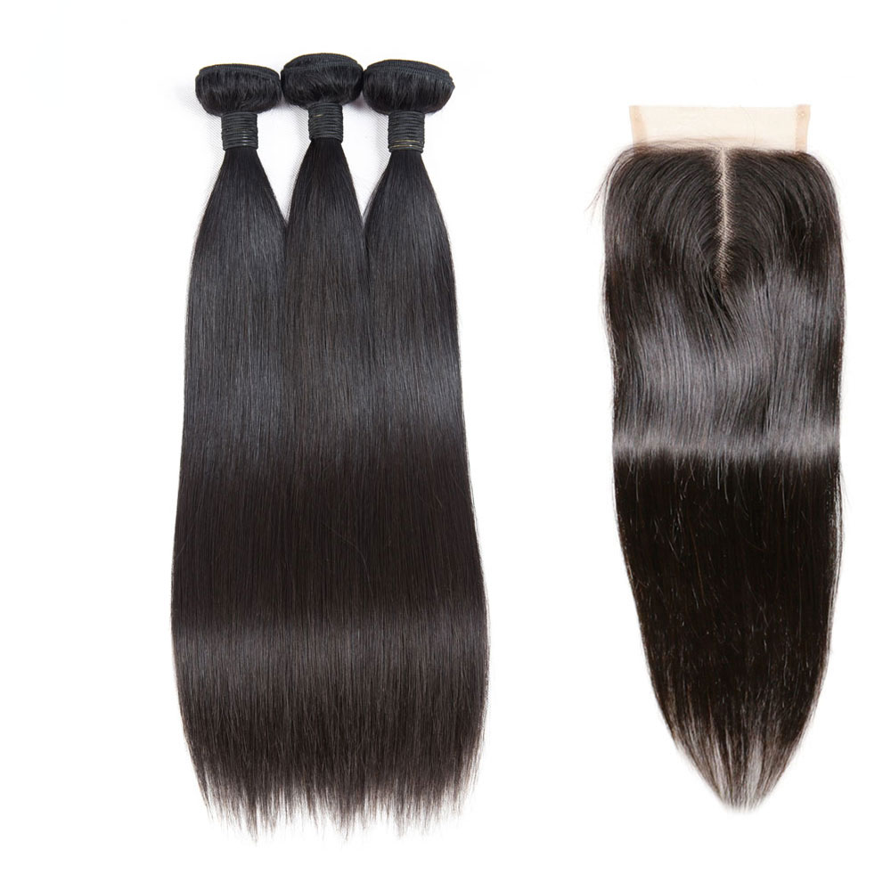 10A 3 Bundles Brazilian Straight Virgin Human Remy Hair Weave With 4x4 Lace Closure